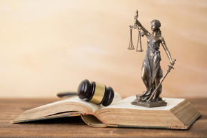 Themis statue on open book and gavel next to it